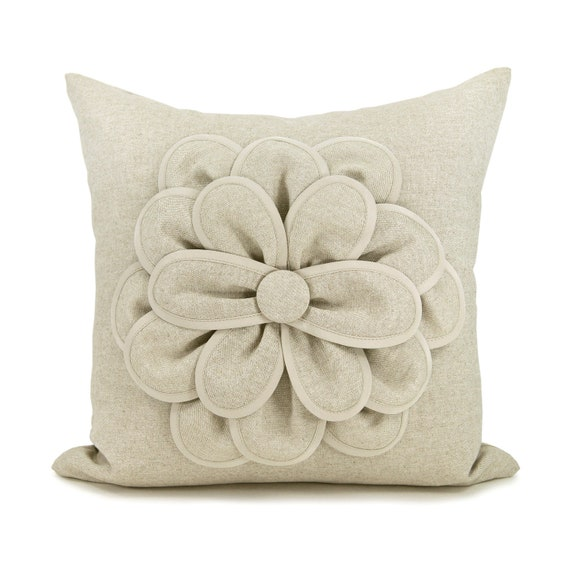 16x16 Decorative Pillow Cover Flower Pillow Cover Natural