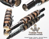 Custom Feather Pen - writing pen with feathers under acrylic covering