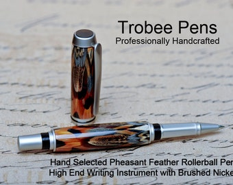 Luxury Feather Pen Handmade - genuine pheasant feather rollerball Custom pen made handcrafted writing pen best customer service too