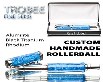 Handmade Pen Blue Swirls - Smooth Writing - Rollerball -  Ink Pen - Made on a Lathe - Custom Writing Instrument - Best Idea Christmas Gift