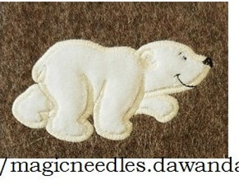 Polar bear / white bear - machine embroidery applique designs- INSTANT DOWNLOAD for hoop 4x4 and 5x7