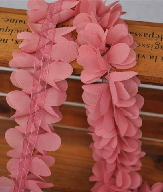 High Quality Pourpre Chiffon Leaves Lace Trim 2.16 Inches Wide 1 Yard
