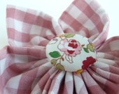 Big Pink and White Gingham Fabric Flower Corsage