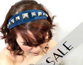 headband blue suede and silver studs 33% SALE