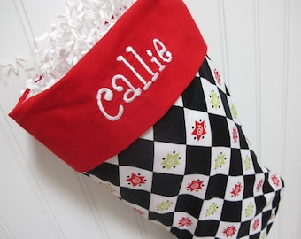 Christmas Argyle Stocking in black and white with red toe and cuff