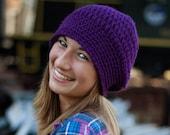 Purple Slouchy Crochet Fashion Hat, Winter Accessories