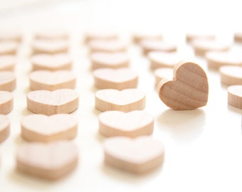 100 Small Wooden Hearts . wood hearts . 1/2 inch heart shaped . little hearts . small hearts . plain hearts