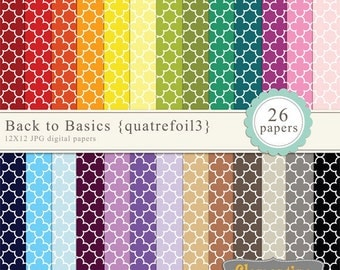 Quatrefoil digital paper 12x12, digital scrapbooking paper, royalty free commercial use -quatrefoil3- Instant Download