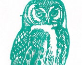 Spirit Owl Linocut-Original Print- Southwestern Wall Art- 4x6 inches Signed Edition of 25