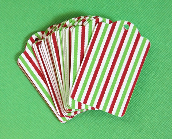 25 Die Cut Double Layer Red, White, & Green Striped Christmas Holiday Gift Tags / Price Tags (3 x 2 inches)