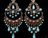 Large Exotic Boho Gypsy Chandelier Earrings- Genuine Turquoise Magnesite Gemstone Beaded Ethnic Earrings- MTO