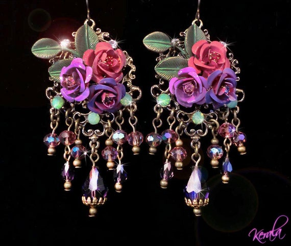 Rose Chandelier Earrings- Swarovski Roses, Violet and Mauve Crystal Bouquet Hand-painted Chandelier Earrings -MTO