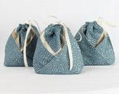 Origami Gift Bag -  Blue and Cream Swirls