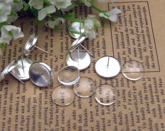 20pcs(10pairs) Silver Color Earring Posts With 12mm Pad   and  20pcs 12mm transparent glass cameo