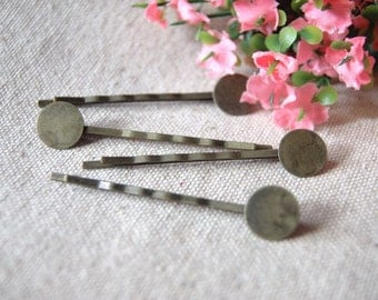 20 pcs 55mm Antiqued Bronze  Color Hair Pins with 8mm Flat Round Pad