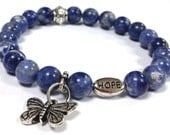 Butterfly Sodalite Gemstone Bracelet with Hope Message