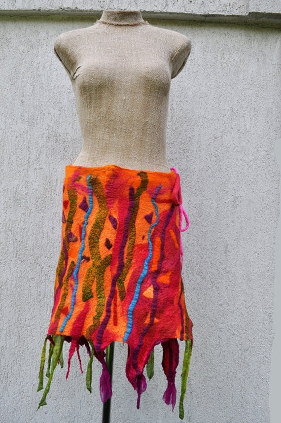 Felted skirt, nuno felt, nuno, wool, silk, fabric art, orange, green, blue, purple
