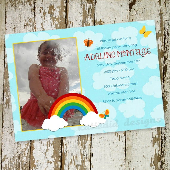 1st birthday party invitations with bright rainbow and clouds, digital, printable file (item 215b)