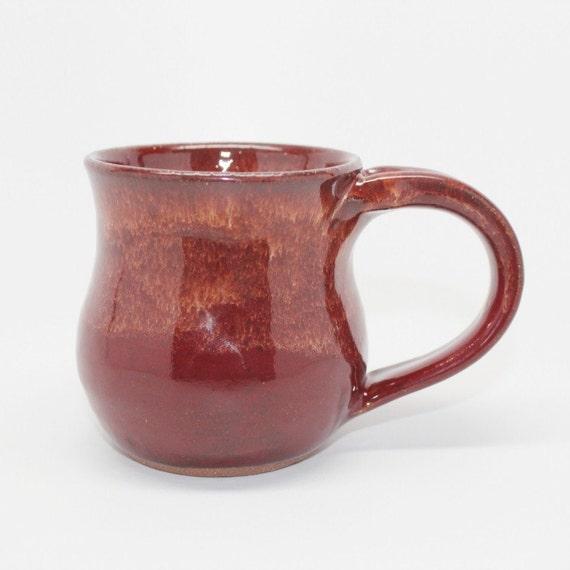 Wheel Thrown Stoneware Coffee Mug in Fiery Brick Red