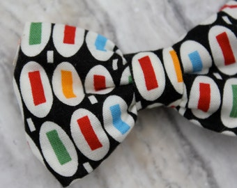 """Black """"Pez"""" Boy's Bow Tie - clip on, pre-tied with strap or self tying"""