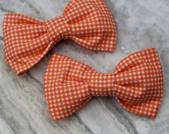 Tiny Orange Gingham Bow tie - clip on, pre-tied with strap or self tying for men or boys