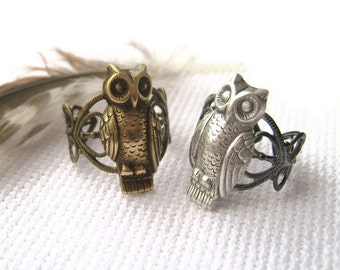 Bubo Owl  Ring - Adjustable Filigree Ring - Silver, Brass or Copper