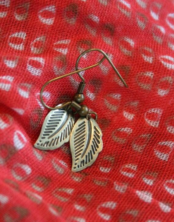 SALE Bronze Petite Leaf Earrings