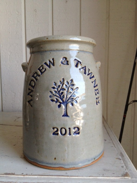 Personalized Stoneware Anniversary Crock By Zotterthepotter