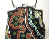 Gorgeous All Beaded Bag, Purse, Perfect for the Holiday Occasions lovely, Unique Evening Handbag, For the Holidays, Silvertone Frame
