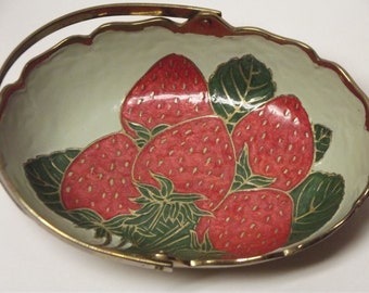 SALE SALE Heavy brass bowl enamelware with  strawberries and handle