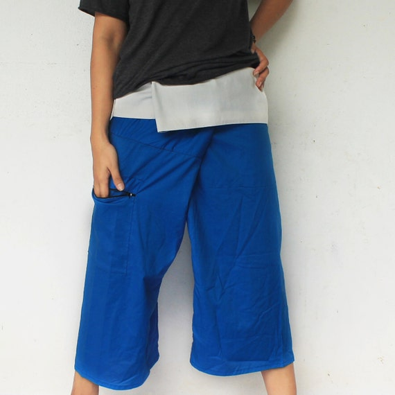 3/4 Organic cotton on waist and blue sea medium long Thai fisherman pants,size S-XL,unisex pants