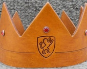 Crown w/Lion Emblem - Handmade Leather