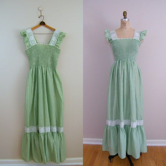 Vintage 1960s Maxi Dress / Green and White Gingham Hippie Dress