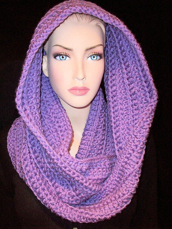 Crocheted Purple Infinity Scarf Chunky Handmade made with double yarn, ready to ship