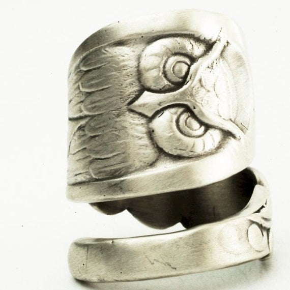 owl ring spoon ring with owl sterling silver handcrafted in