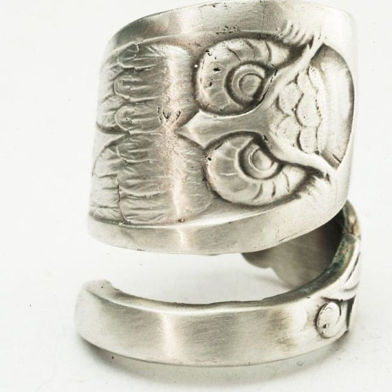 Owl Ring Spoon Ring with Owl Sterling Silver, Handcrafted in Your Size (2870)