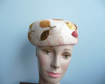 Vintage 1960s Botanical Hat With Feathers, Leaves and Flowers Toque Pill Box