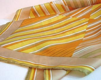 Echo Chinon Silk Scarf, Striped and Color-Blocked ... 27 Inch Square, Hand Rolled Edges ... Yellow, Orange, Tan, Kakhi Green, White