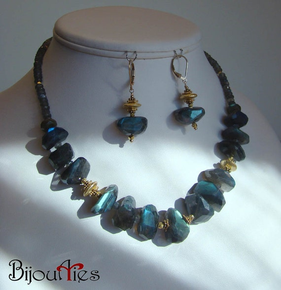 Labradorite faceted nuggets beads,Bali vermeil gold, gold filled chain, adjustable necklace, dangle earrings, jewelry set