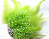 Wedding hair fascinator lime green feathers hair clip bridal hair clip apple green fascinator