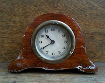 Antique English Small Wood Mantle Piece Clock circa 1910's / English Shop