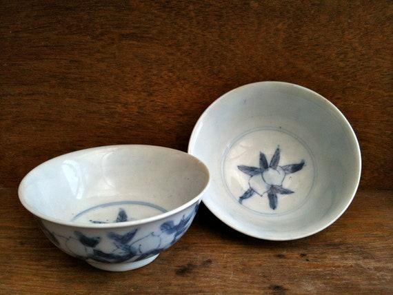 Antique Asian Blue and White Peach Rice Bowls Dishes circa 1910's / English Shop