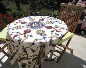 Ecru white small square Tablecloth - floral table cloth - tile print Ottoman Picnic Park Beach Camp cloth Turkish traditional Hand woven