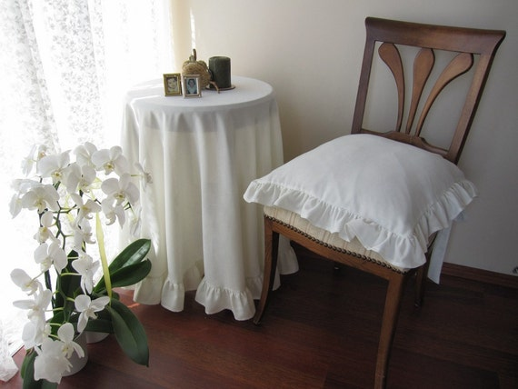 """round Tablecloth off white or ivory cream polyviscose linen - Ruffled - round 100"""" tablecloth Table decoration"""