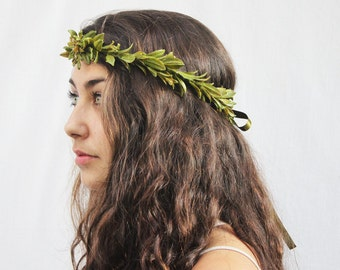 Green Leaf Crown. Greek Goddess, Leaf Headband, Hair Laurel, Green Leff Headband, Greek, Grecian, Toga Costume, Woodland, Laurel, Boho
