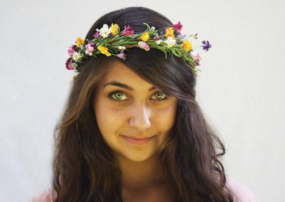 Flower Girl Hair Wreath - Bridal Crown.  Woodland Pink, Yellow and Raspberry Wildflower Crown. Cottage Wedding, Bohemian .