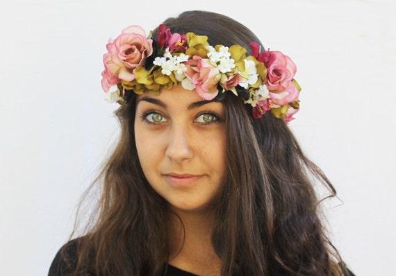 Flower Crown - Whimsical Bohemian Pink Rose,Olive Green, Black and Magenta Hair Wreath. Weddings, Bridal, Fairy Crown