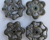 Sweet Set of 4 Silver/Grey Vintage Valve  Handles
