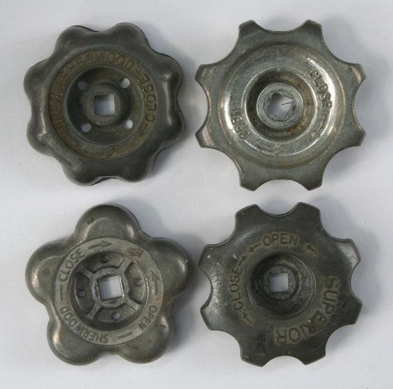 Set of 4 Unique  Industrial Silver  Valve  Handles