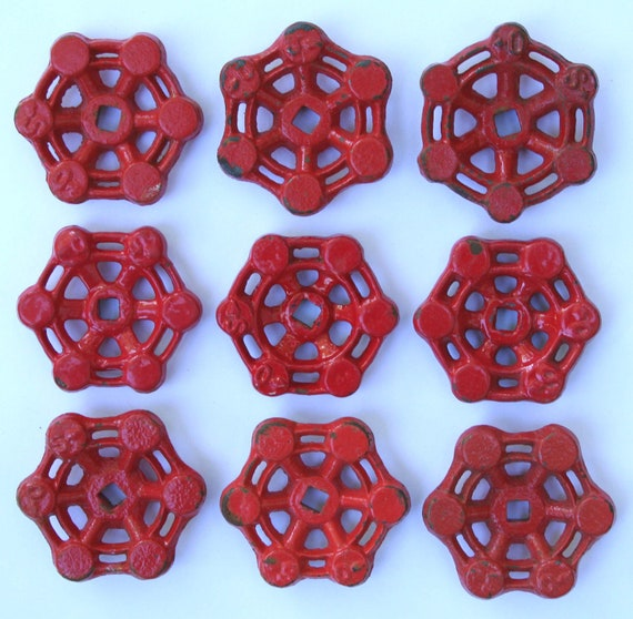 Vintage Faucet /Valve Handles/Metal Faucet Knobs-Set of 9-Red- Big Sale -20% Off items-Use Coupon Code-SuperSavings